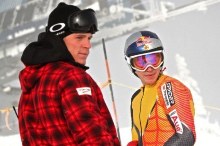 Erik et son frère Stefan, son entraîneur sur piste