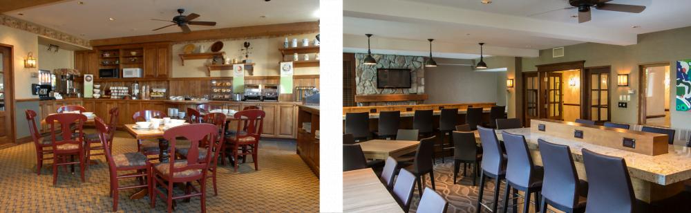 Salle à déjeuner avant et après les rénovations